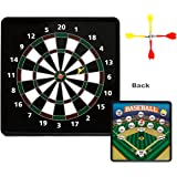 AOQING 2-in-1 Magnetic Double Side Square Safety Dart Board with 6 Magnetic Darts - 13.5 x 13.5 Inch Standard Darts & Baseball Games – Perfect for Family Party
