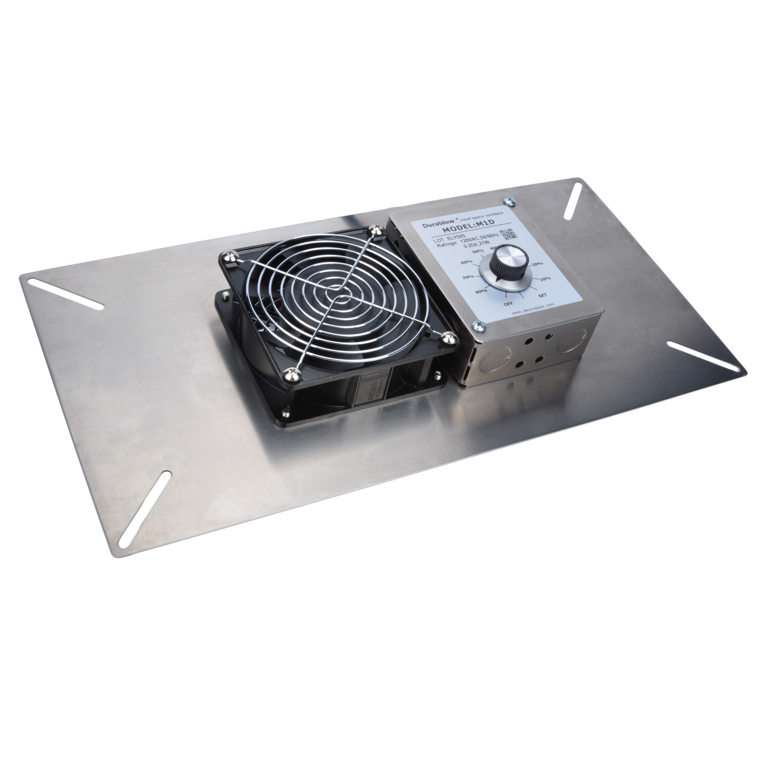 Durablow Stainless Steel 304 Crawl Space Foundation Fan Ventilator / Built-in Dehumidistat / Freeze Protection Thermostat MFB M1D