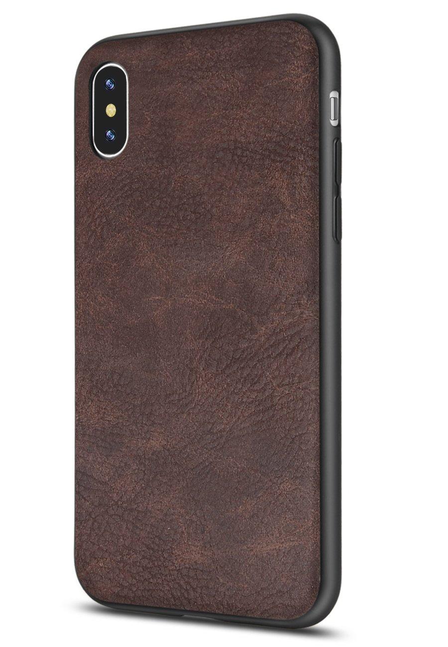 funda de cuero sintetico para iphone xs max, marron