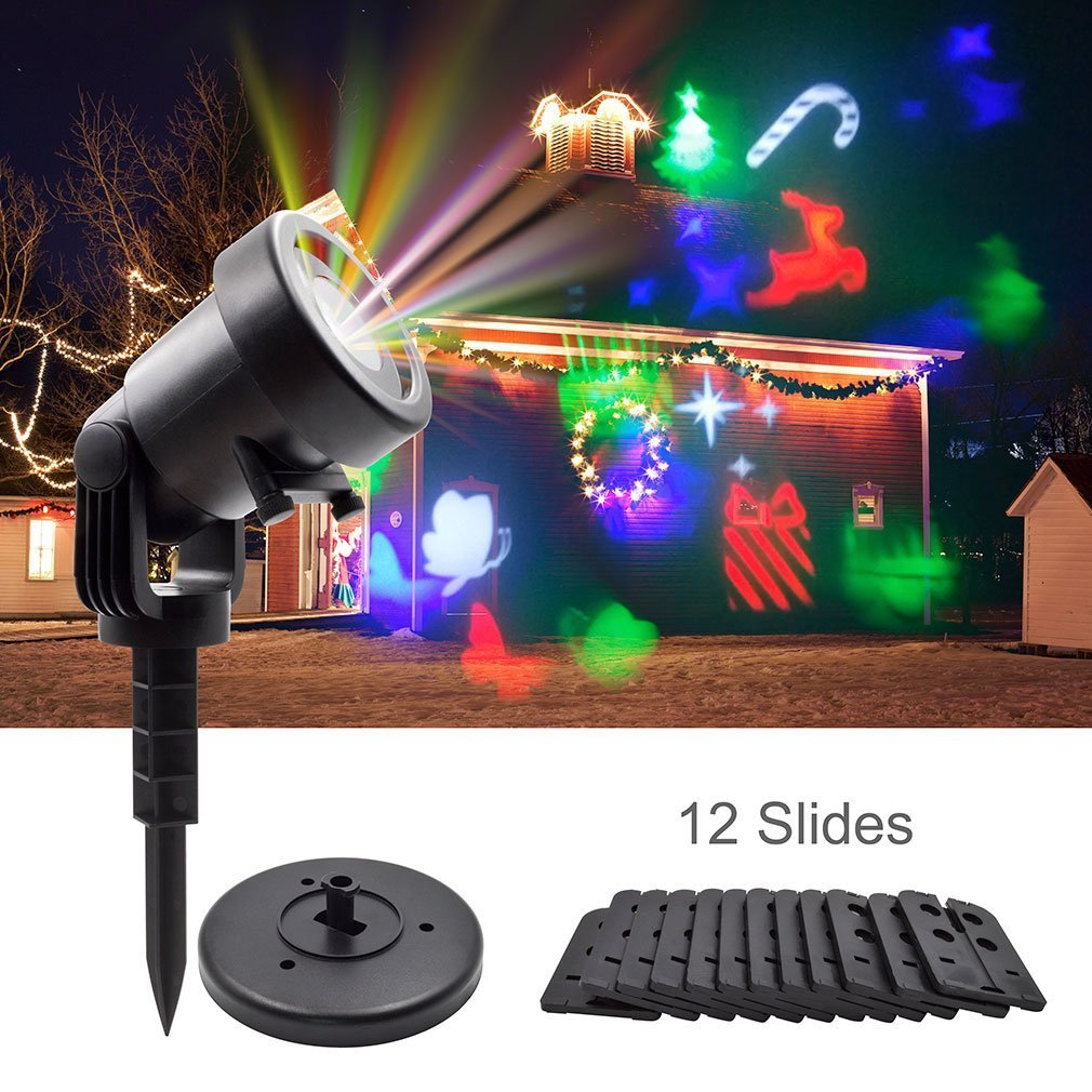 Christmas Laser Projector Lights, GEREE Halloween Outdoor Laser Light, LED Rotating Projector with 12 Replaceable Colorful Slides, Waterproof Snowflakes Spotlight for Festival Party Garden Yard