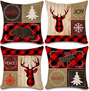 "KACOPOL Red Black Buffalo Check Plaids Christmas Pillow Covers Vintage Wood Moose Deer Elk Bear Farmhouse Decorative Cotton Linen Throw Pillow Case Cushion Cover 18"" x 18"" Set of 4 Merry Joy Peace"