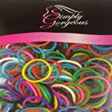 500 X petites bandes de cheveux élastiques tresses tresses de poly en caoutchouc tressage - couleurs mélangées
