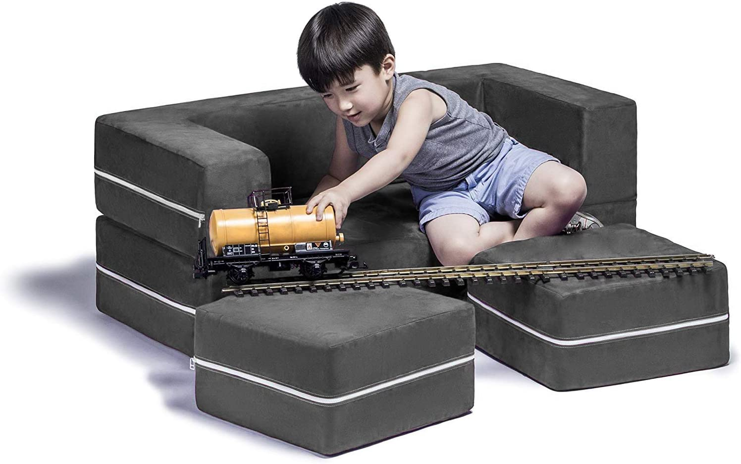Jaxx Zipline Modular Kids Loveseat & Ottomans/Fold Out Lounger, Charcoal