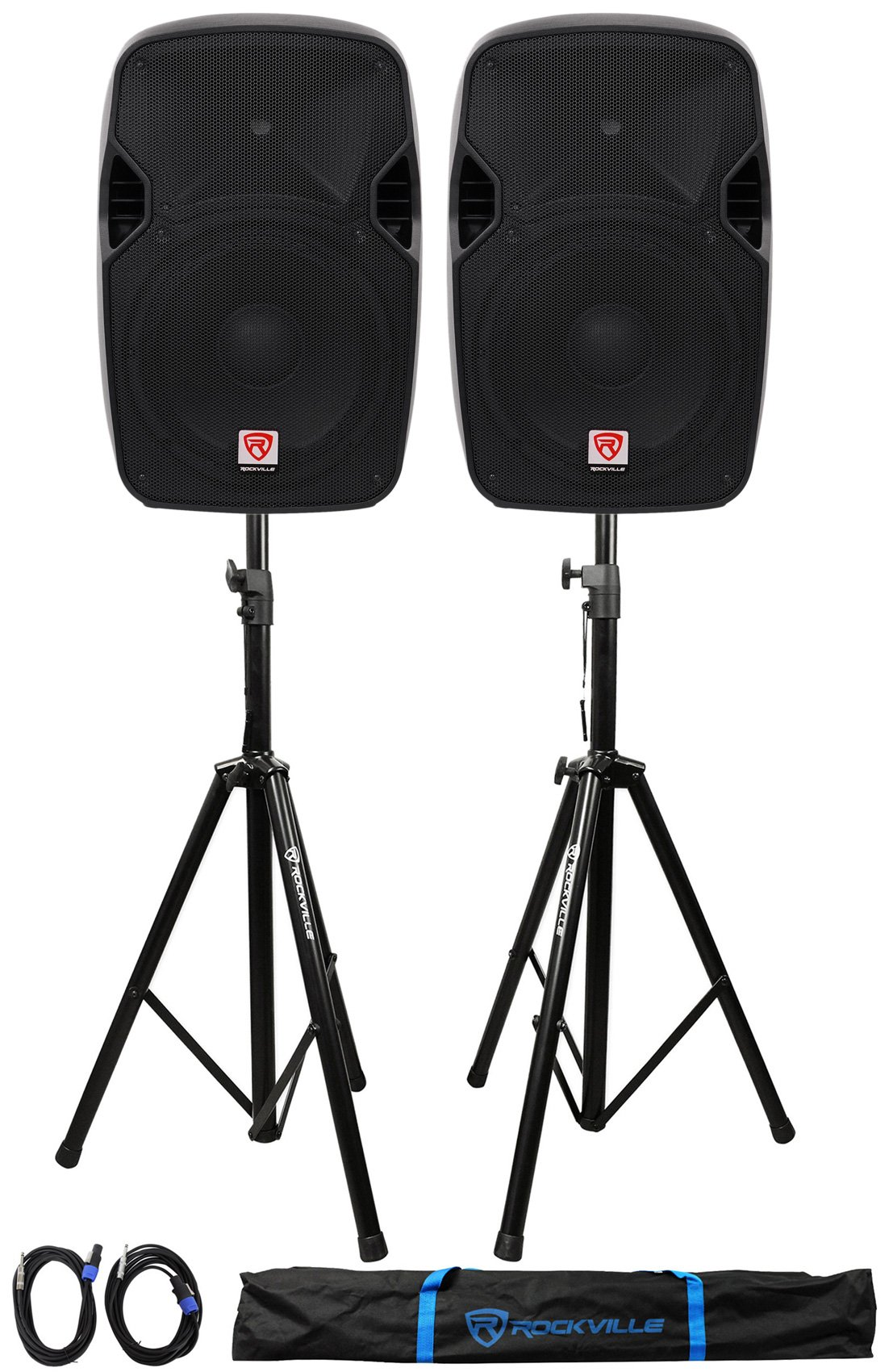 (2) Rockville SPGN124 12'' Passive 2400W DJ PA Speakers+Stands+Cables+Carry Bag