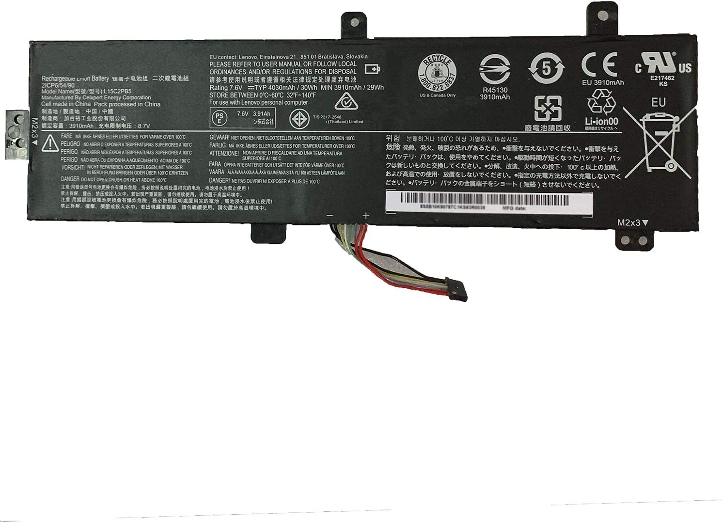Dentsing L15C2PB5 (7.6V 30Wh/3900mAh 2-Cells) Laptop Battery Compatible with Lenovo IdeaPad 510-15IKB 510-15ISK 310-15ABR 310-15IK Series Notebook L15C2PB3 L15C2PB7 L15S2TB0 L15L2PB4 L15M2PB3 L15M2PB5