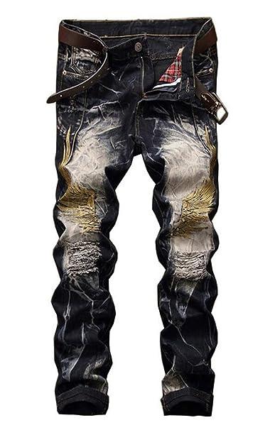 Amazon.com: LIANTSH Pantalones vaqueros para hombre, estilo ...