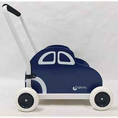 Englacha car Musical Toddler Walker, Baby Push Car with Built-in Musical Function and Speed Reduction Wheels, Blue/White : Baby