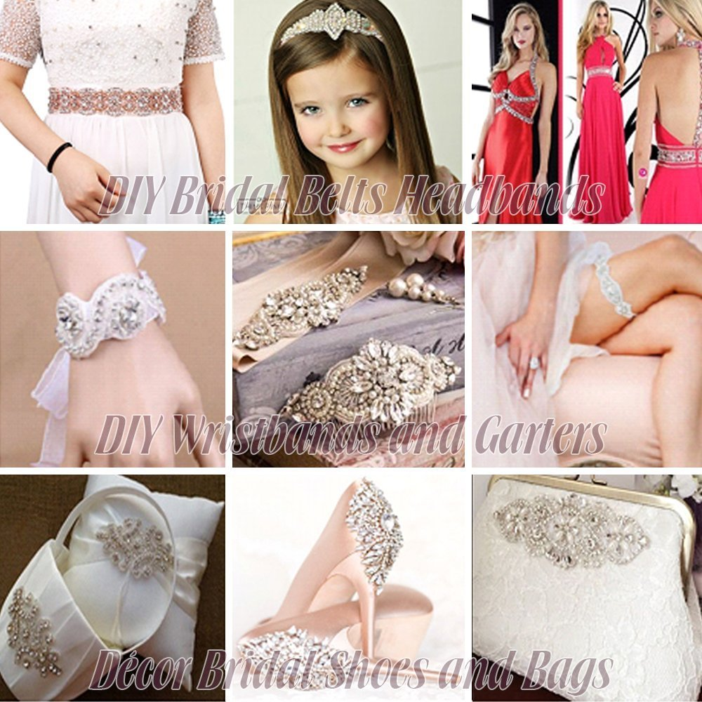 Rose Gold Wedding Crystal Sash Applique Sew Iron on Rhinestone Bridal Dress Belt Applique Sparkly for Bridesmaid Gown Women Prom Formal Dress Clothes Embellishments by XINFANGXIU (Image #7)