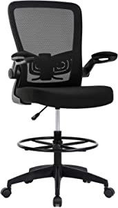 Drafting Chair Tall Office Chair Adjustable Height with Lumbar Support Flip Up Arms Footrest Mid Back Task Mesh Desk Chair Computer Chair Drafting Stool for Standing Desk,Black