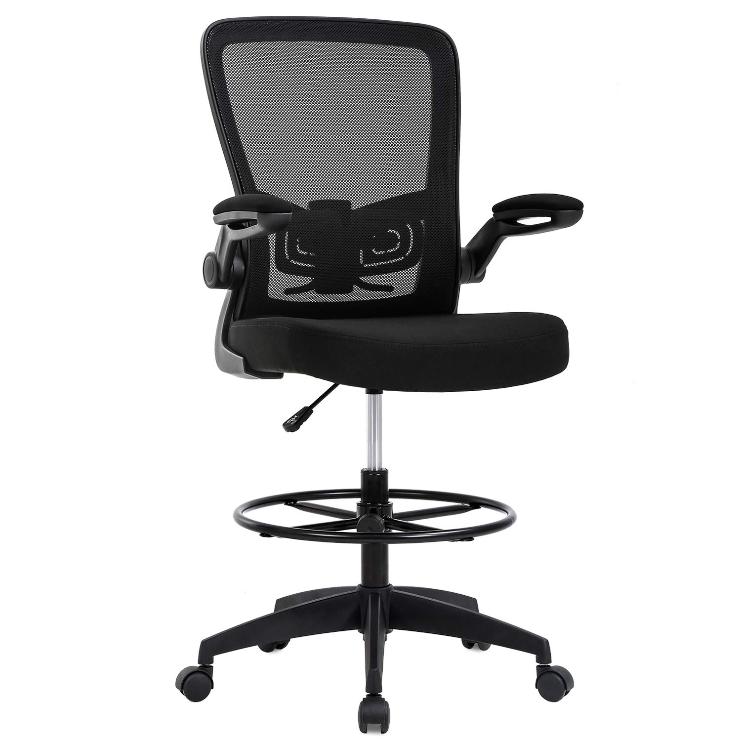 BestOffice Adjustable Height with Lumbar Support Flip Up Arms Footrest Mid Back Task Mesh Desk Chair Computer Chair Drafting Stool for Standing Desk,Black by BestOffice