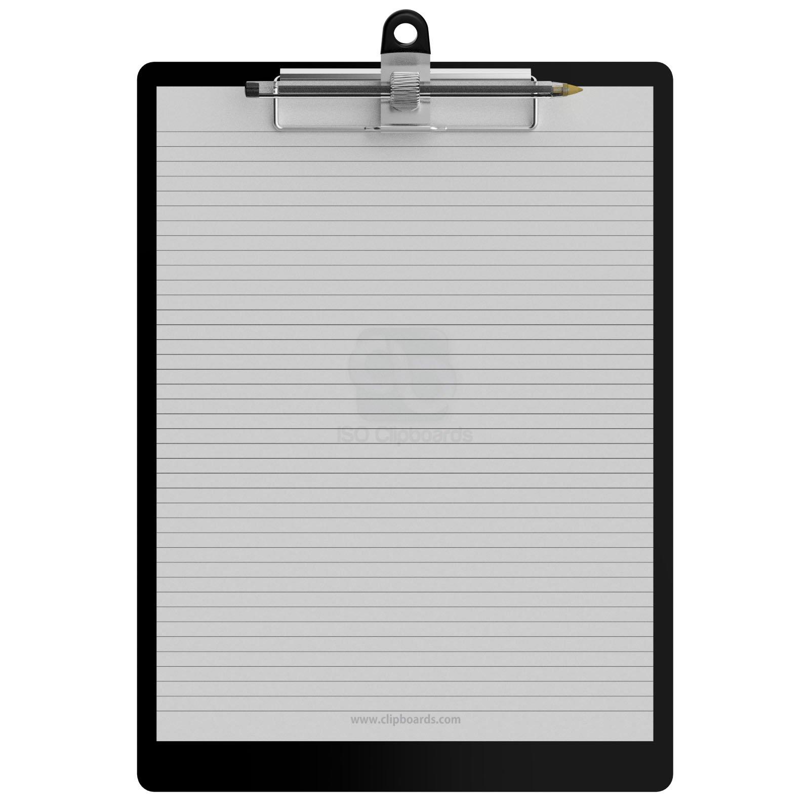 Pen Holder Letter Size 8.5 x 11 Aluminum Clipboard - Black