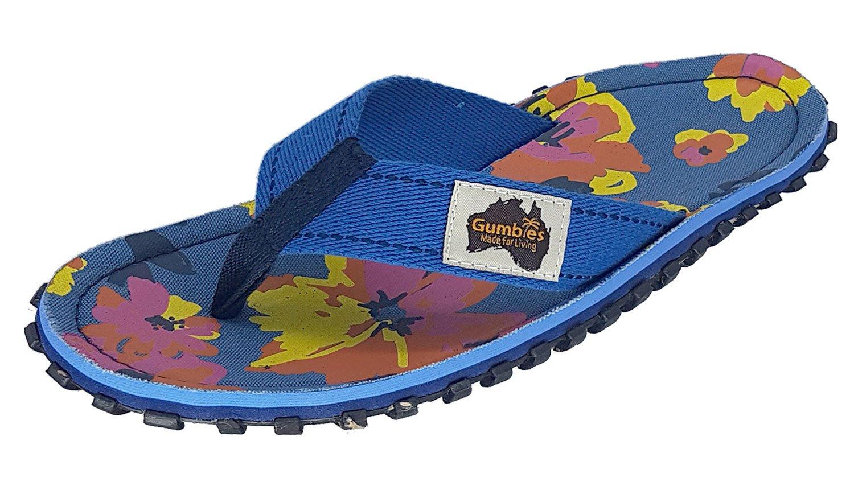 Gumbies Damen Zehentrenner - Rosa/Blau Schuhe in Uuml;bergrouml;szlig;en  40 EU|Flowers/Floral