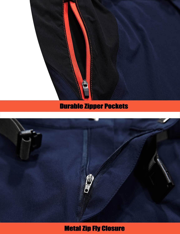 Pantalones de Senderismo para Hombre Ligeros y el/ásticos de Secado r/ápido con Bolsillos con Cremallera TACVASEN