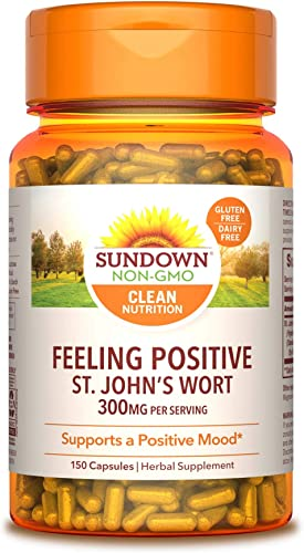 Sundown Standardized St. John s Wort Capsules 150 ea, Non-GMO , Free of Gluten, Dairy, Artificial Flavors