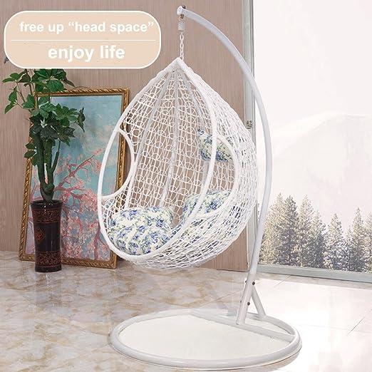Silla columpio de ratán para jardín. Silla con forma de huevo para interior o exterior, color blanco, marrón, negro., blanco: Amazon.es: Jardín