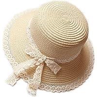 Kentop Niños niña Plegable Sombrero de Paja Sombrero Puntas Lado Playa Sombrero Verano Sombrero