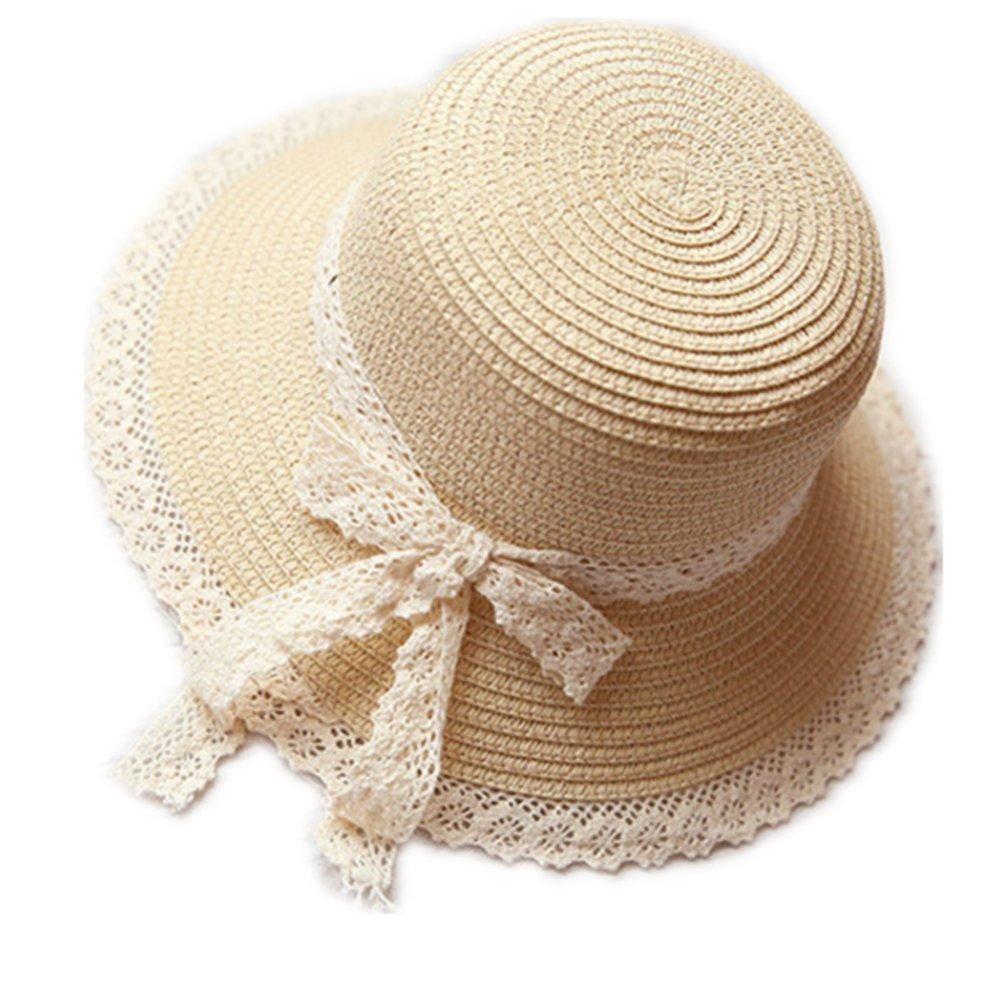 Kentop Niños niña plegable sombrero de paja sombrero puntas lado playa sombrero verano sombrero, color beige, tamaño 48-52 cm