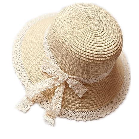 Kentop Niños niña plegable sombrero de paja sombrero puntas lado playa  sombrero verano sombrero 8262a9b281a