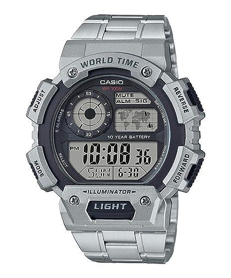 Casio Reloj Digital para Mujer de Cuarzo con Correa en Acero Inoxidable AE-1400WHD-1AVEF: Amazon.es: Relojes