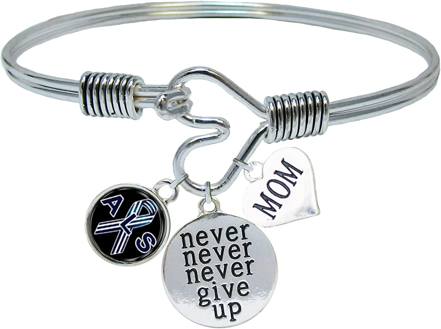Sports Accessory Store ALS Lou Gehrig\'s Disease Awareness Never Give Up Choose MOM OR DAD Charm ONLY Bracelet Jewelry