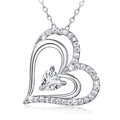 Amazon 925 sterling silver heart necklace billie bijoux 925 sterling silver heart necklace billie bijoux heart to heart white gold plate mozeypictures Image collections