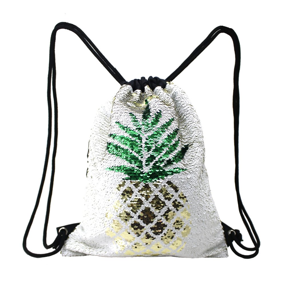 Fandicto Mermaid Sequin Drawstring Bags Unicorn Pineapple Bags for Girls Women Party Supplies
