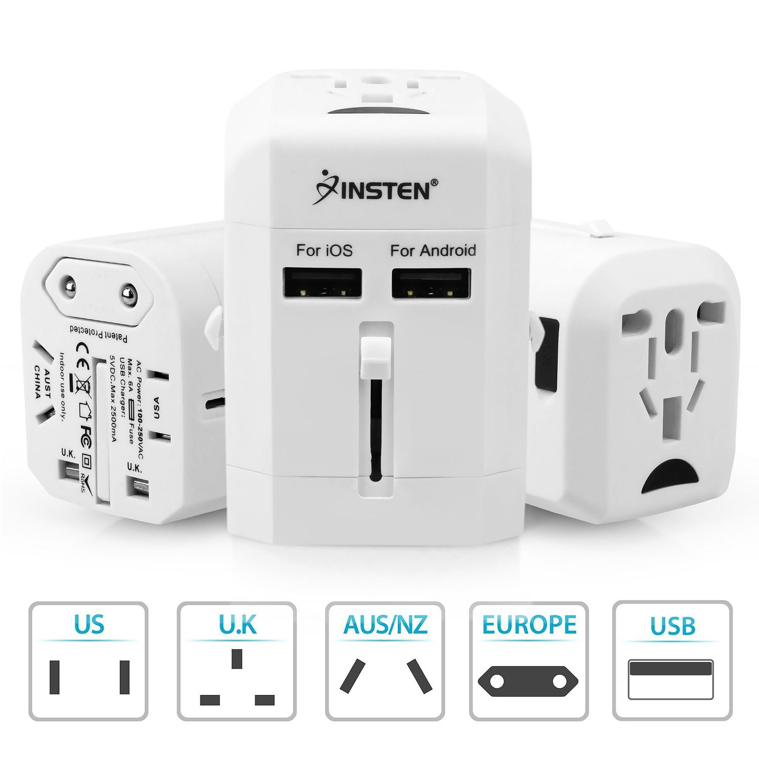 Insten Universal Worldwide Travel Adapter Wall Charger Power Plug AC Adapter with Dual USB Charging Ports for US/EU/UK/AU International Cellphone Laptop, White