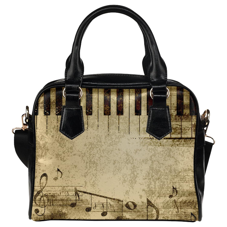 CASECOCO Vintage Music Notes Piano Keyboard PU Leather Purse Handbag Shoulder Bag