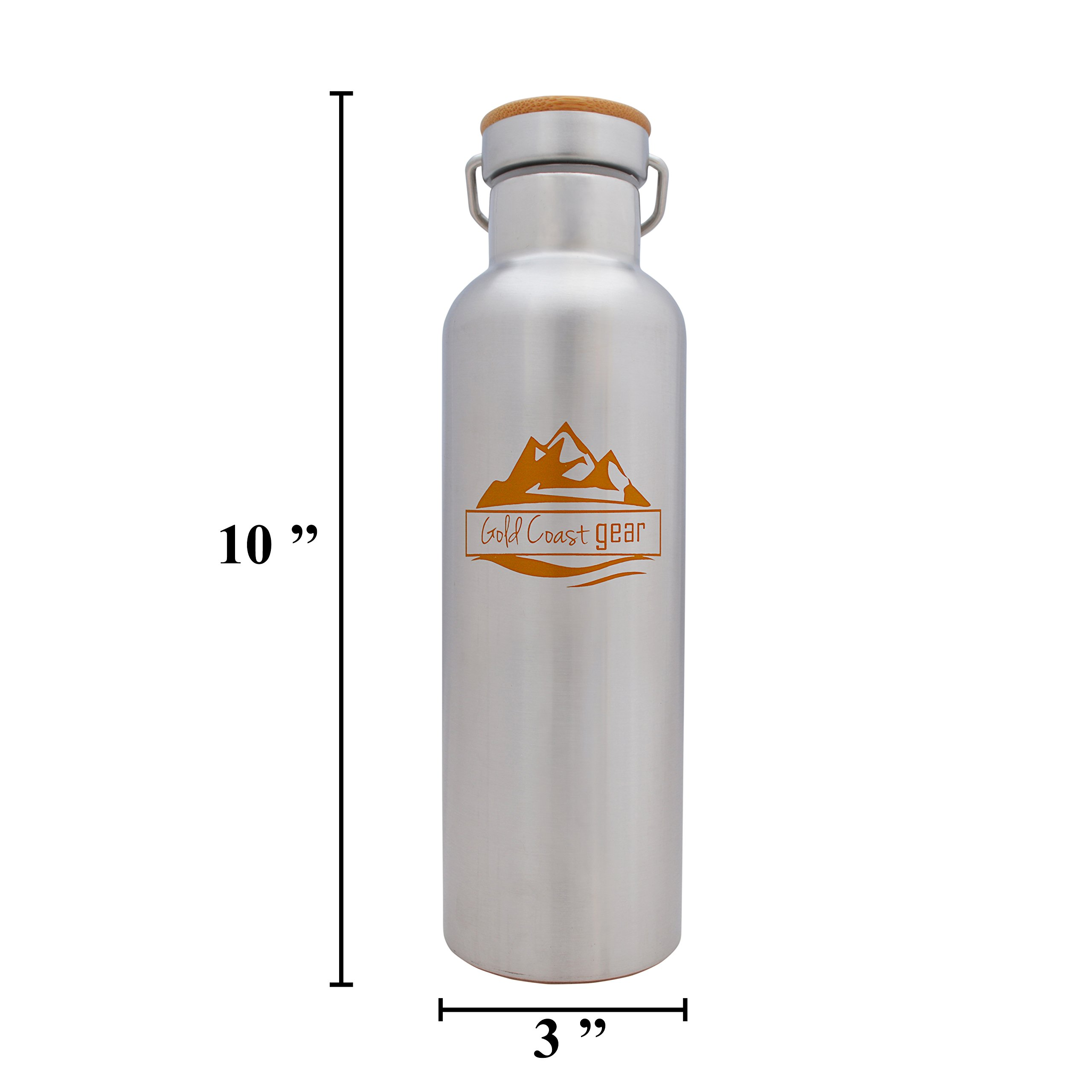 Vacuum Insulated Stainless Steel Water Bottle ( 25 OZ / 750 ML ). Zero Condensation! (750ml) by Gold Coast gear (Image #4)
