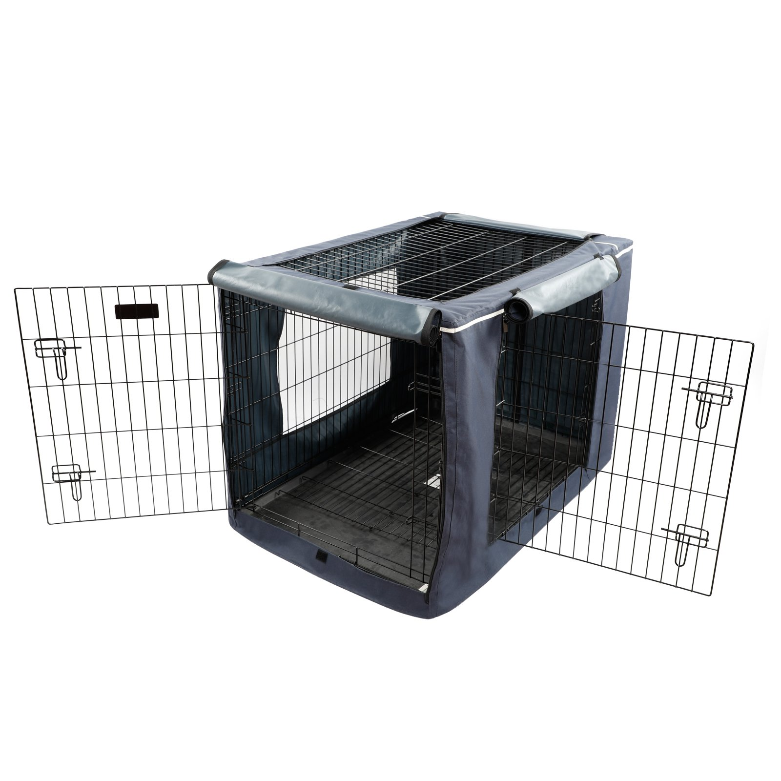 """Petsfit Oxford Cloth Pet Kennel Cover for Wire Dog Crates 42""""L x 28""""W x 30""""H, With Three-Side and Top Windows, Back Zipper, Dark Blue by Petsfit (Image #4)"""