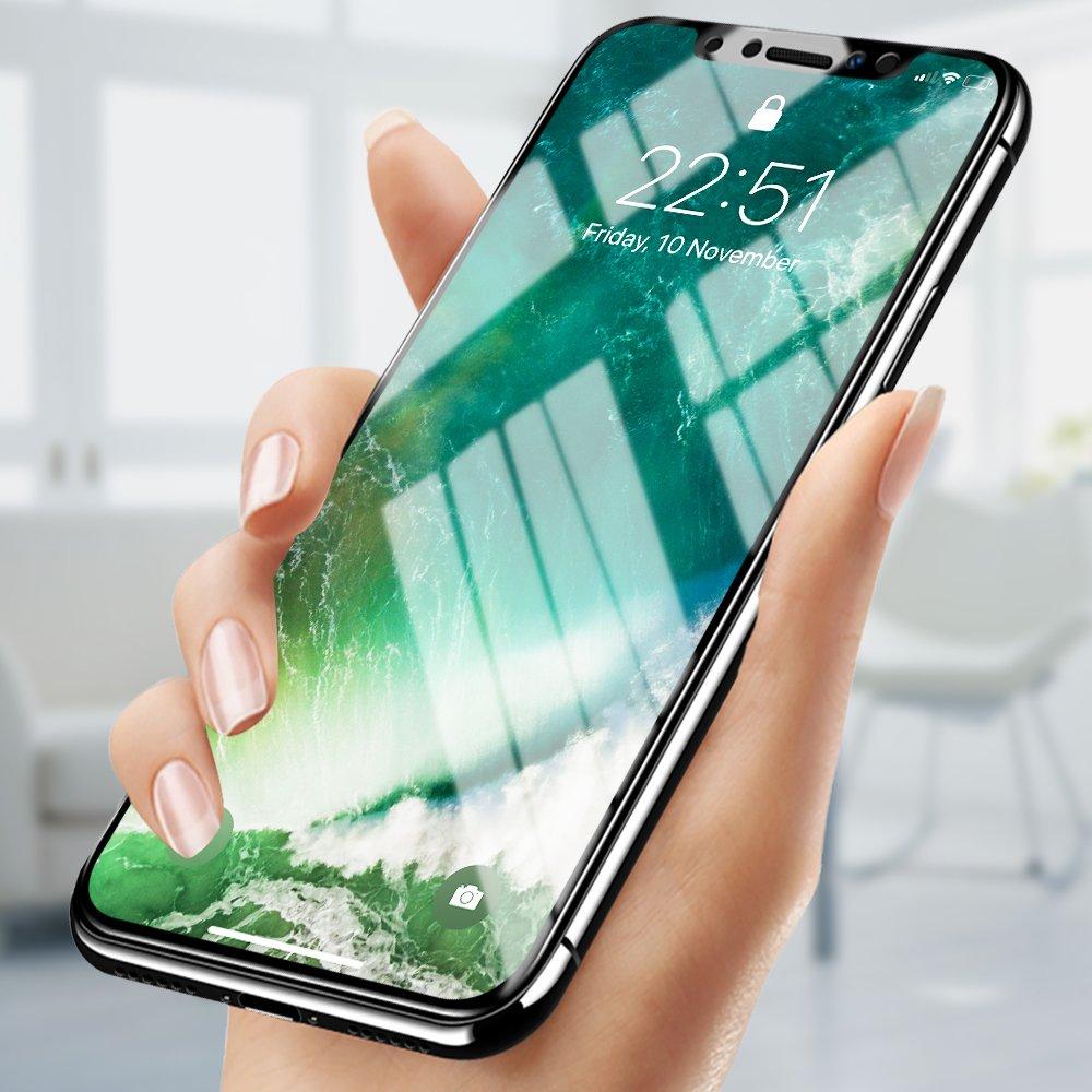 Protector de Pantalla iPhone X, innislink 2 Piezas Cristal Vidrio Templado 9H Dureza 3D Touch Ultra Claro Anti-Huella Alta Definicion Protector Pantalla para Apple iPhone X - Transparente GSPI8