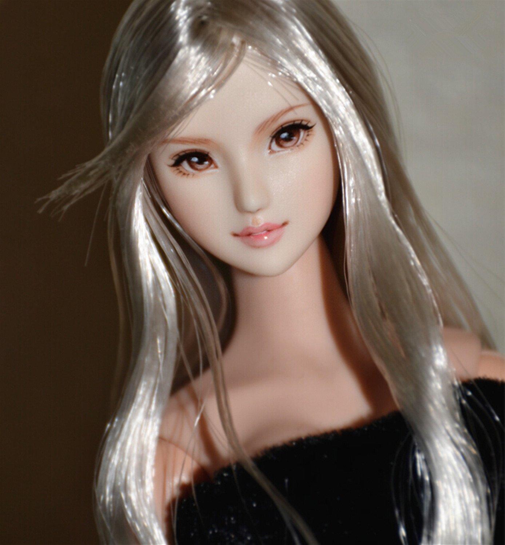 【王者堂】 RDOLL 1/6 フィギュア ドール ヘッド 頭 【 銀髪長髪 】 女性 長髪 アイブラウン アクセサリー 植毛 タイプ オーダー 手作り 塗装済み 【HT/CG/TTL/OB/CY/PHのボディに対応】 B07BHB3J84 ペイル