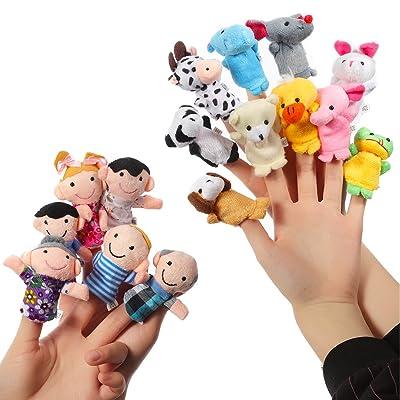 ThinkMax 16 Piezas Marionetas de Dedo Animales y Familias para Niños Bebe: Juguetes y juegos