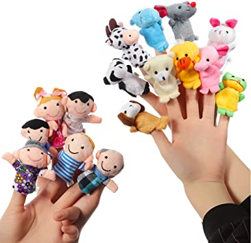 Bundle 6Pcs//Lot Baby Play Game Learn Family Hand Cloth Doll Finger Puppets Toys^