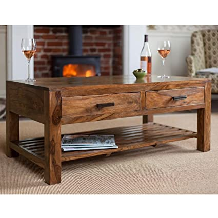 Lifeestyle Sheesham Wood Center Table Coffee Table With 4 Storage