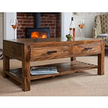 Lifeestyle Sheesham Wood Center Table , Coffee Table With 4 Storage Drawers