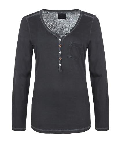 Urban Surface Camiseta Vintage de Mujer de Manga Larga con Botones | Ligera Camiseta Básica con Tela...