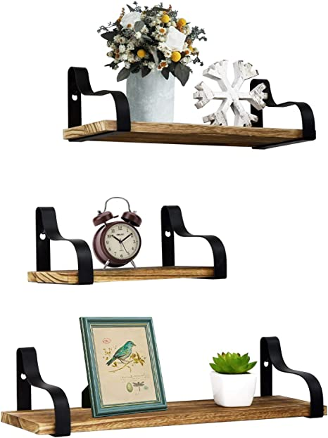 Amazon Com Y Me Ym Farmhouse Shelves For Wall Set Of 3 Rustic Wood Small Shelf Floating Perfect For Bedroom Living Room Bathroom Kitchen And Office Light Brown Kitchen Dining