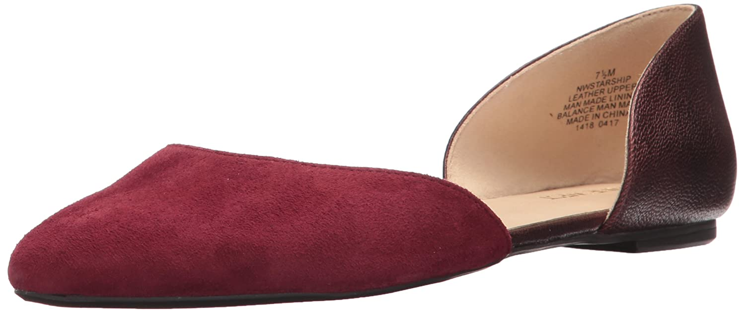 Nine West Women's Starship Suede Pointed-Toe Flat B01MSW925X 6 B(M) US|Wine/Brown