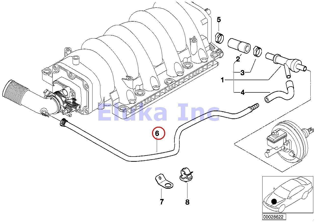 BMW Genuine Vacuum Pipe - Intake Boot To Brake Booster Vacuum Valve Hose 740i 740iL 740iLP 540i 540iP ALPINA V8 X5 4.4i X5 4.6is