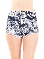 Ladies Acid Wash High Waist Destroyed Pattern Frayed Ends Shorts