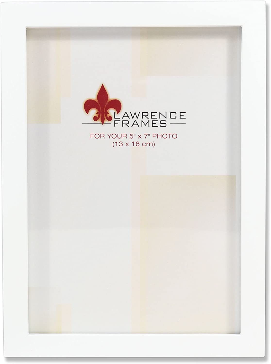 Lawrence Frames White Wood Picture Frame, Gallery Collection, 5 by 7-Inch