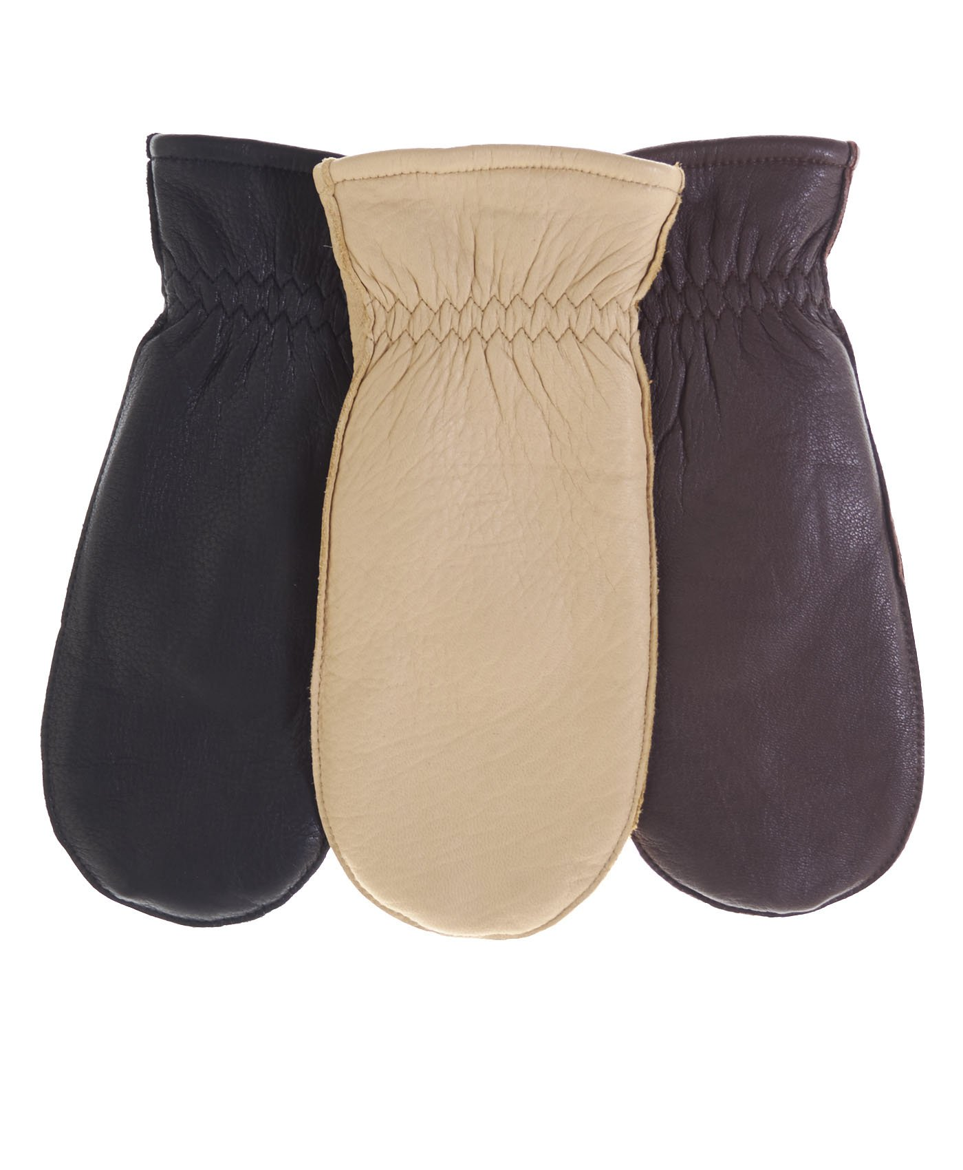 Pratt and Hart Women's Winter Deerskin Leather Mittens with Finger Liners Size M Color Black