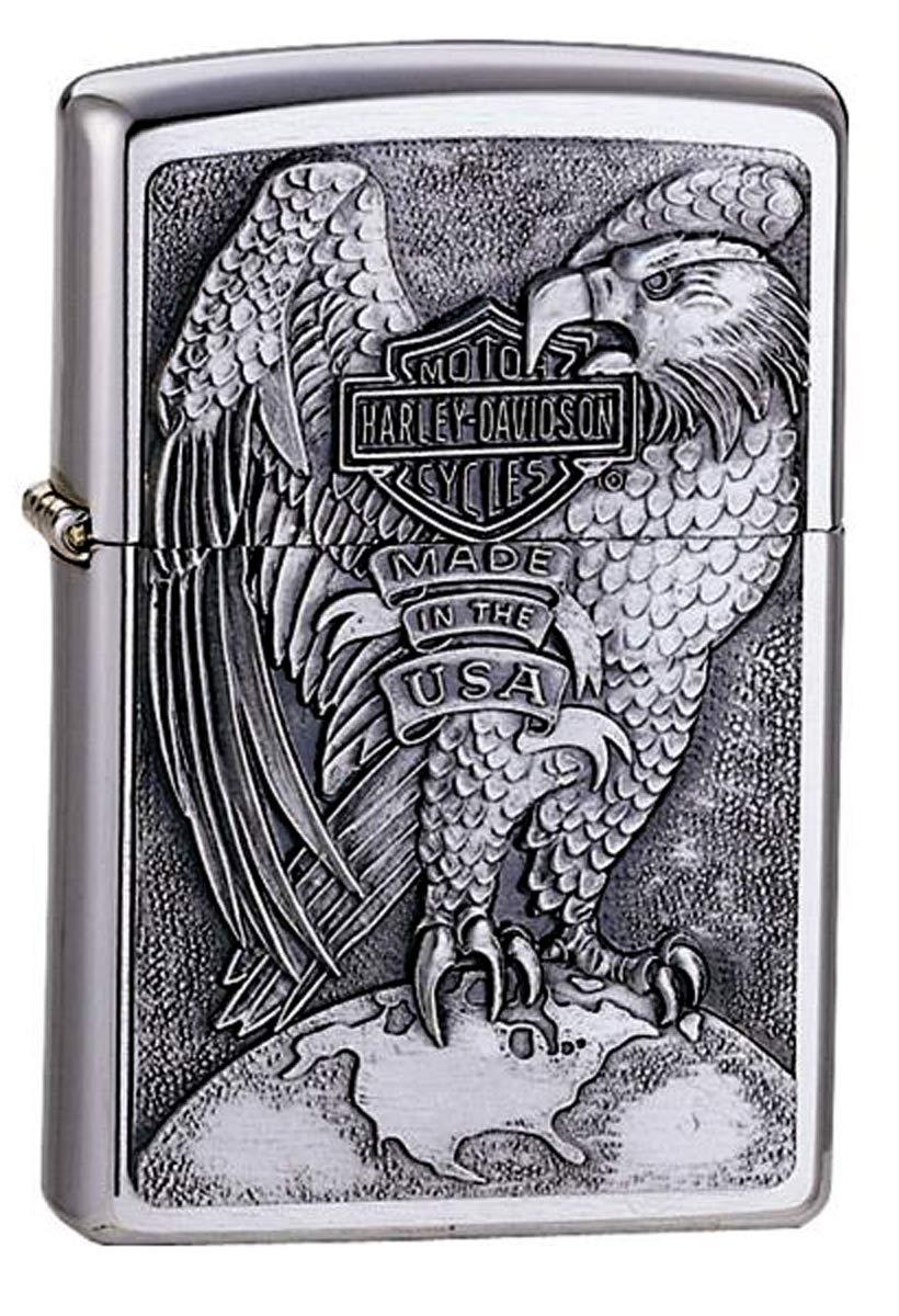 Personalized Zippo Lighter 14231 Harley-Davidson Eagle & Globe Emblem Street Chrome Pocket Lighter