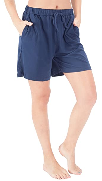 01eb744eead WEWINK CUKOO Women Shorts Cotton Sleep Shorts Stretchy Lounge Shorts with  Pockets Blue