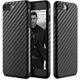 iPhone 8 Plus Case, iPhone 7 Plus Case, [Carbon Fiber] - [Light Thin Cover] [Non Slip] [Fingerprint Free] Drop Protection Case Cover For Apple iPhone 8 Plus/iPhone 7 Plus - Black