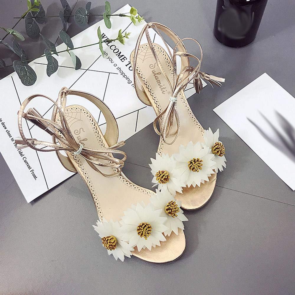 Womens Strap High Heel Sandals Flowers Thick Heel Roman Shoes