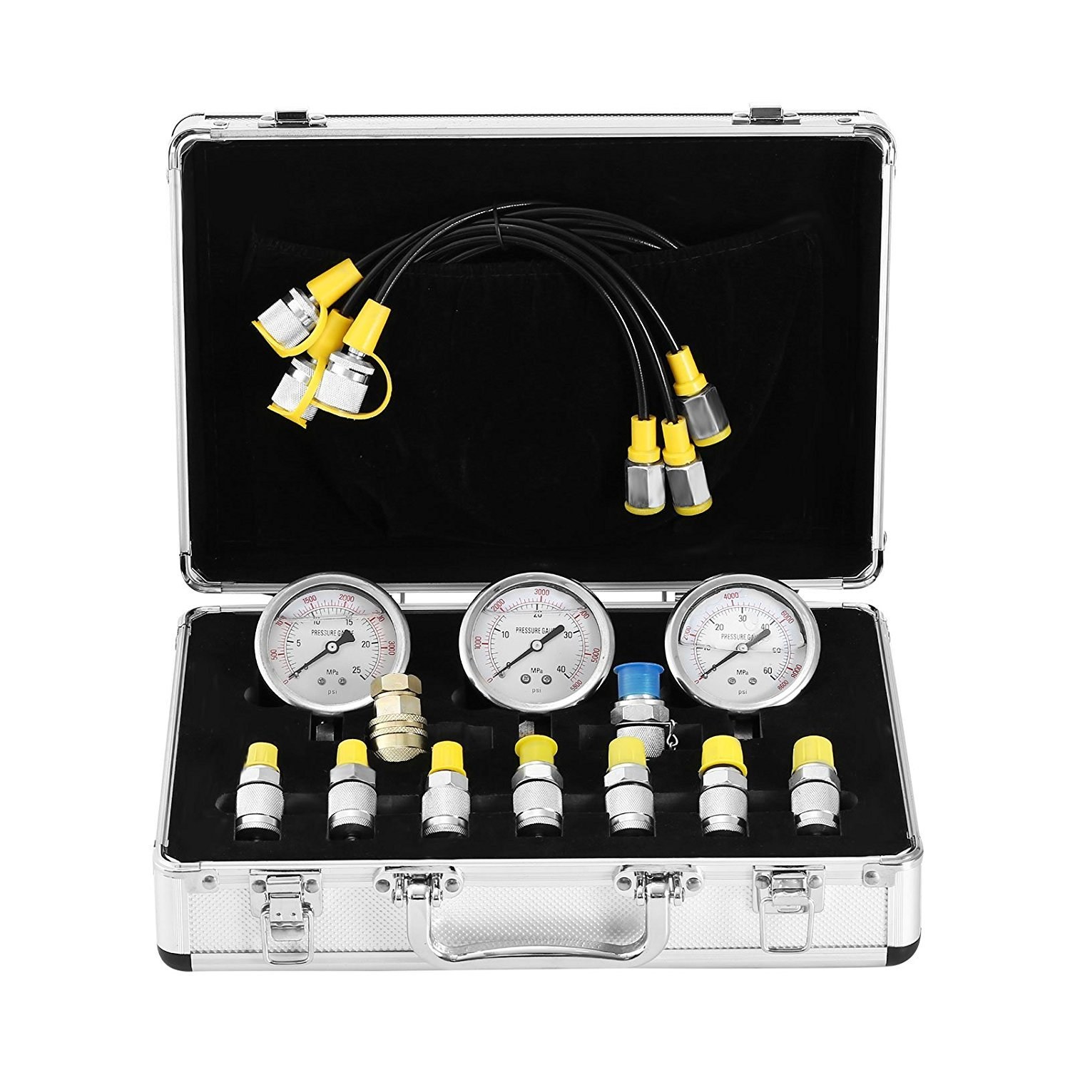 Popsport Hydraulic Pressure Gauge Kit 9000PSI Hydraulic Pressure Test Kit 60MPa Excavator Hydraulic Pressure Test Kit for Automobiles and Construction Machinery (Pressure Gauge Kit)