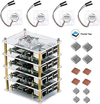 para Raspberry Pi 4 Model B, 3B + Caja 4 Capas Transparente ...