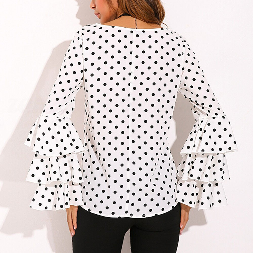 Womens Summer Casual Blouse Dot T-Shirts Autumn Long Bell Sleeve Shirts Loose Ruffle Tops